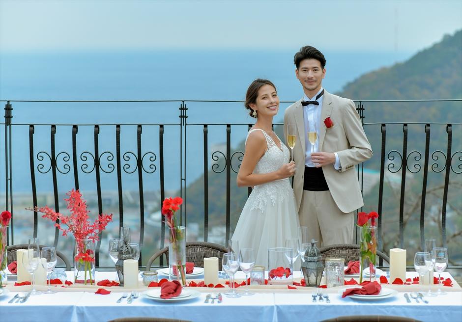 熱海披露宴会場装飾 テーブルコーディネート 熱海スパ&リゾート結婚式